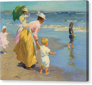 At The Beach Canvas Print by Edward Potthast