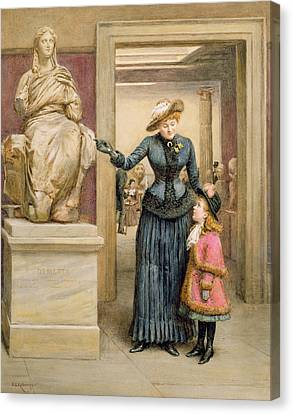 At The British Museum Canvas Print by George Goodwin Kilburne