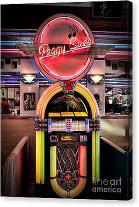 Peggy Sues Diner Canvas Print - At The Diner by Peggy Hughes
