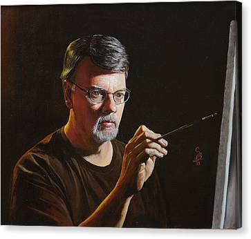 Canvas Print featuring the painting At The Easel Self Portrait by Glenn Beasley