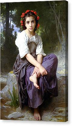 At The Edge Of The Rock Canvas Print by William Bouguereau