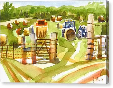 At The Farm Baling Hay Canvas Print by Kip DeVore