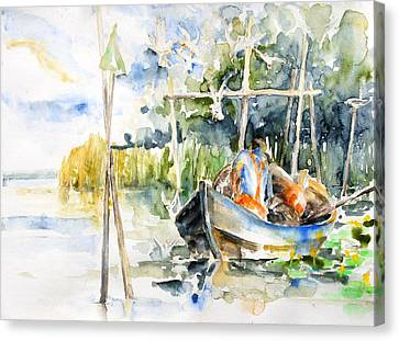 At The Fish Trap Canvas Print by Barbara Pommerenke