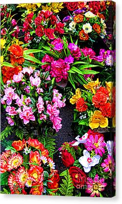 At The Flower Market  Canvas Print by Olivier Le Queinec