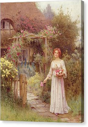 Cottages Canvas Print - At The Garden Gate by William Affleck