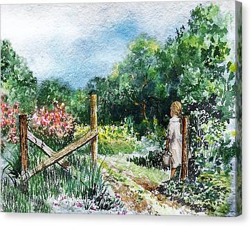 Canvas Print featuring the painting At The Gate Summer Landscape by Irina Sztukowski