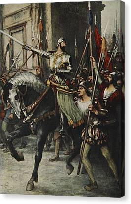 At The Head Of A Large Body Of Men Rode Canvas Print by Ferdinand Leeke