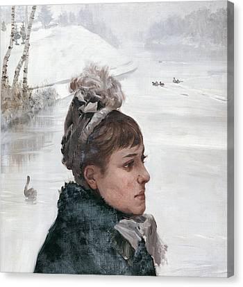 At The Lake Canvas Print by Giuseppe De Nittis
