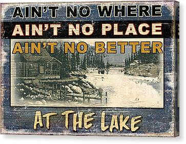 At The Lake Sign Canvas Print by JQ Licensing