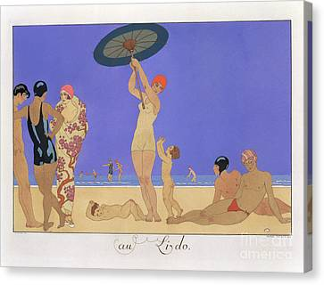 At The Lido Canvas Print by Georges Barbier