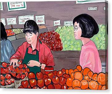 Canvas Print featuring the painting At The Market by Joyce Gebauer