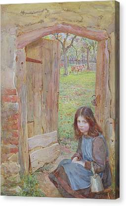 At The Orchard Gate, 1903 Canvas Print by Edward Clegg Wilkinson