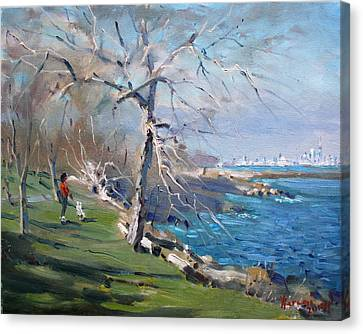 At The Park By Lake Ontario Canvas Print by Ylli Haruni