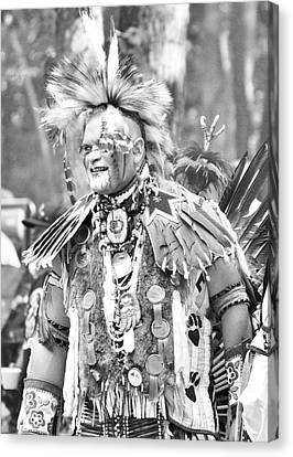 At The Powwow - Black And White Canvas Print by Kim Bemis