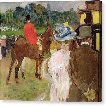At The Races At Auteuil Canvas Print by Leon Georges Carre