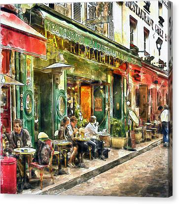 At The Restaurant In Paris Canvas Print by Marian Voicu
