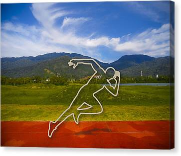 Jogging Canvas Print - At The Running Track by Ym Chin