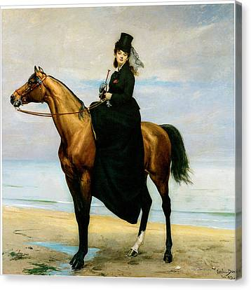 At The Seaside Sophie Croizette On Horseback Canvas Print