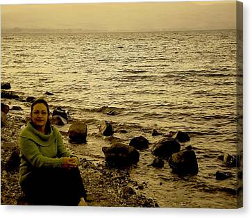 Gospel Of Matthew Canvas Print - At The Shores Of The Sea Of Galilee by Sandra Pena de Ortiz