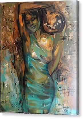 At The Spring Canvas Print by Nelya Shenklyarska
