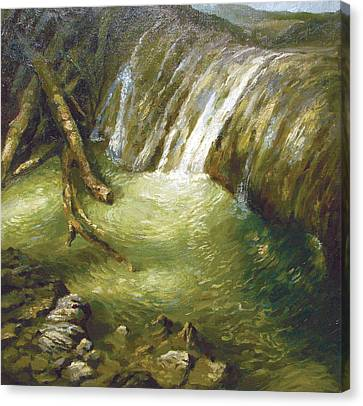 Canvas Print featuring the painting At The Waterfall by Dmitry Spiros