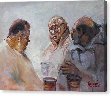At Tim Hortons Canvas Print by Ylli Haruni
