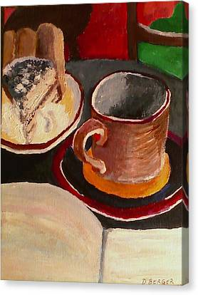 Canvas Print featuring the painting At Witches Brew Tiramisu Coffee And Writing Too by Darlene Berger