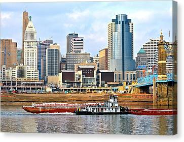 At Work On The Ohio River Canvas Print