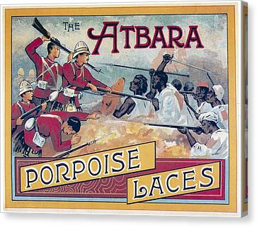 Canvas Print featuring the photograph Atbara Porpoise Laces Vintage Ad by Gianfranco Weiss