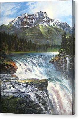 Canvas Print featuring the painting Athabasca Falls by LaVonne Hand