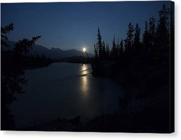 Athabasca River Moonrise Canvas Print by Cale Best