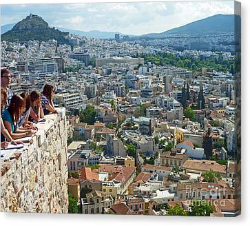 Canvas Print featuring the photograph Athenian Scholars by Cheryl Del Toro