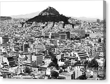 Greek School Of Art Canvas Print - Athens City View In Black And White by John Rizzuto