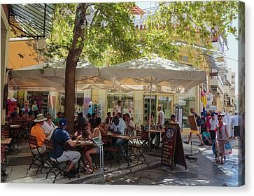 Athens, Greece.  Scene In Plaka Canvas Print by Ken Welsh