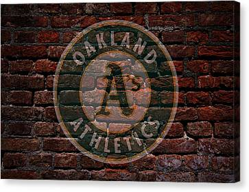 Athletics Baseball Graffiti On Brick  Canvas Print by Movie Poster Prints
