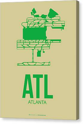 Atl Atlanta Airport Poster 1 Canvas Print by Naxart Studio
