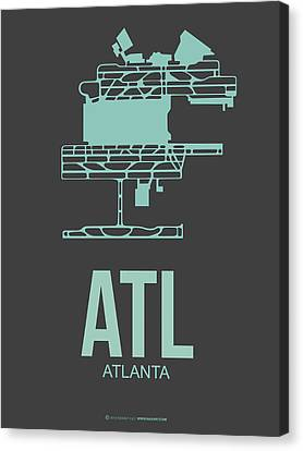 Atl Atlanta Airport Poster 2 Canvas Print by Naxart Studio