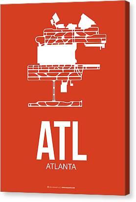 Atl Atlanta Airport Poster 3 Canvas Print by Naxart Studio