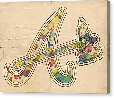 Atlanta Braves Vintage Logo Canvas Print by Florian Rodarte