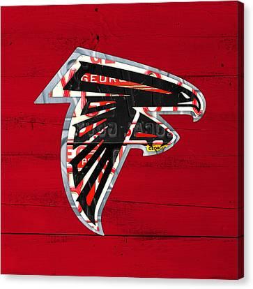 Falcon Canvas Print - Atlanta Falcons Football Team Retro Logo Georgia License Plate Art by Design Turnpike