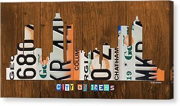 On Wood Canvas Print - Atlanta Georgia City Skyline Vintage License Plate Art On Wood by Design Turnpike