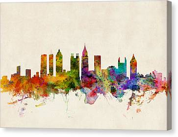 Silhouettes Canvas Print - Atlanta Georgia Skyline by Michael Tompsett