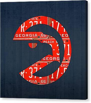 Atlanta Hawks Basketball Team Retro Logo Vintage Recycled Georgia License Plate Art Canvas Print by Design Turnpike