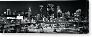Atlanta Panoramic Black And White Canvas Print