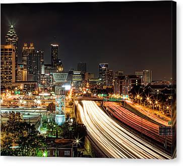 Canvas Print featuring the photograph Atlanta Skyline by Anna Rumiantseva