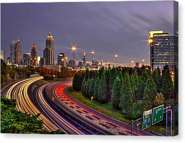 Atlanta Sundown Night Lights Canvas Print
