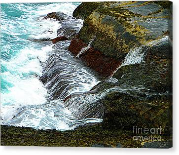 Atlantic Blue On The Rocks Canvas Print by Lorraine Heath