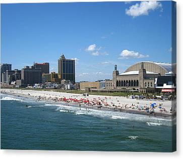 Swim Canvas Print - Atlantic City - 12126 by DC Photographer