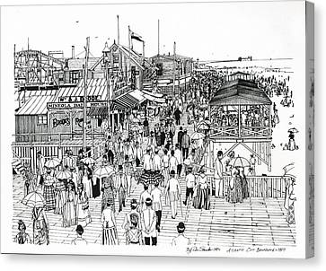 Canvas Print featuring the drawing Atlantic City Boardwalk 1890 by Ira Shander
