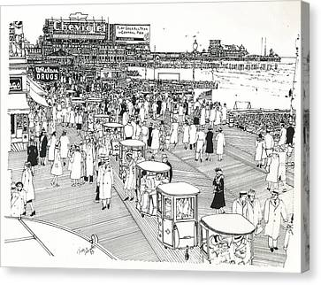 Canvas Print featuring the drawing Atlantic City Boardwalk 1940 by Ira Shander